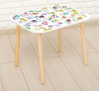 Стол с деревянными ножками «Алфавит с животными»